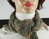 Scarves- Wrap -- Triangle in Stunning Modern Colors - Opal Sock Yarn Browns, blues, green, gold