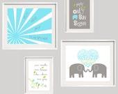 Kids wall art Aqua and Gray Nursery decor You are my sunshine prints Elephant art Set of 4 8x10 and 5x7 Frames NOT Included