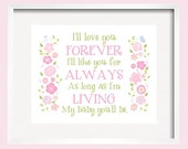 Pink Nursery Decor I'll love you forever Kids Wall Art  Flower print in green pink blue poster, girl room decor, home decorby YassisPlace