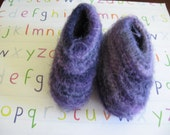 Variegated Purple Wool Baby Booties Knitted Felted Size 6-12 mos. Winter Clothing
