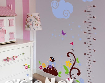 Growth Chart Wall Decal - Fairy, Butterflies, Stars and Flowers  Wall Sticker - PLFT020g