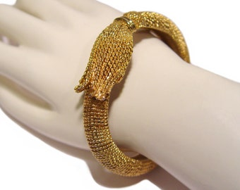 Kenneth Lane Bracelet, Golden Tassel Clamper, K.J.L. Signed, Rare, Collectible, Vintage 1960s