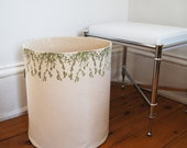 Extra Large Organic Cotton Canvas Storage Basket /Hand Printed Cascade Flowers in Green/ Raw Cotton Lining/ Made To Order