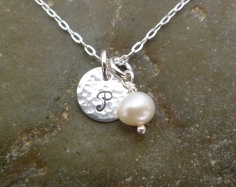 Initial Necklace with Pearl  or Birthstone Crystal - 9.5mm Hand Stamped Sterling Silver - SWEET SIMPLICITY