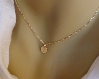 Tiny Gold Initial Necklace - 14k gold filled oval hand stamped disc - 1 2 3 4 5 Discs Gold Dot