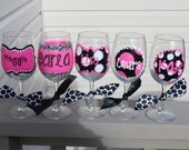 5 personalized wine glasses, girls weekend glasses, bridesmaid glasses, polka dot wine, hand painted wine glass, wedding party, girls trip