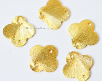 One Brushed 18kt Gold Vermeil Flower Clover Quatrefoil 12mm Connector