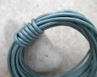 By the Yard - 2mm - Leather Cord Round - Metallic Kerry Blue Terrier