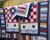 Vintage Twin Quilts - Pair of Patriotic Twin Bed Quilts with Shams  9782