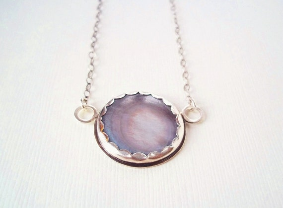 Full Moon Necklace. Recycled Mother of Pearl Button in Sterling Silver. Unique Jewelry