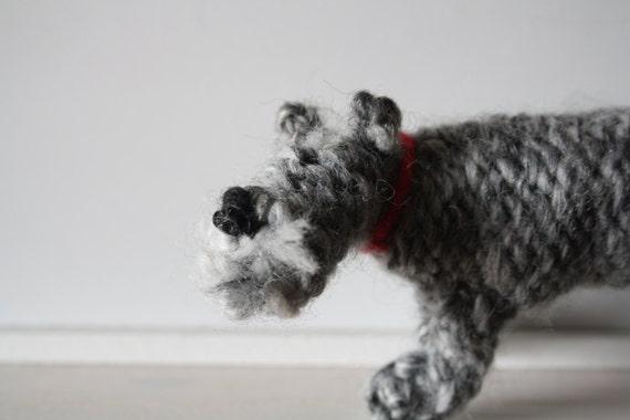 Schnauzer dog knitted in wool
