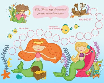 PRINTABLE PERSONALIZED Child Behavior Incentive Chart, Reward Chart, Mermaid Adventure