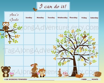 PRINTABLE Personalized Children's Reward Chart / Chore Chart - Forest Animals -  Printable