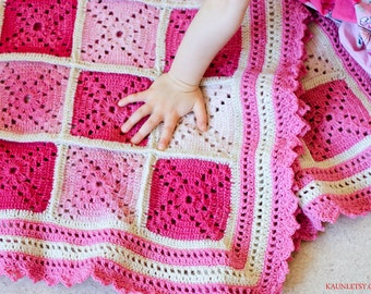 For baby girl Wool Square Afghan, Hand knitted Baby Blanket, PRE ORDER making time 2 weeks