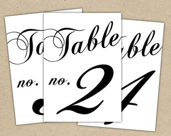 Black Table Numbers Printable Template Instant Download   (5x7) Modern  Design DIY. Wedding  Numbers Templates Free