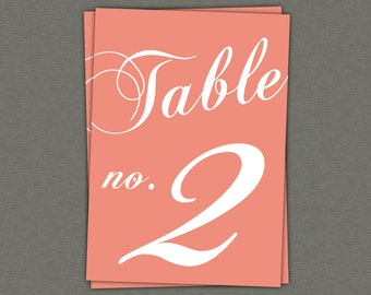 Table Numbers Instant Download - Classic Table Numbers in Coral 5x7 - modern design DIY. Wedding reception (11-20)