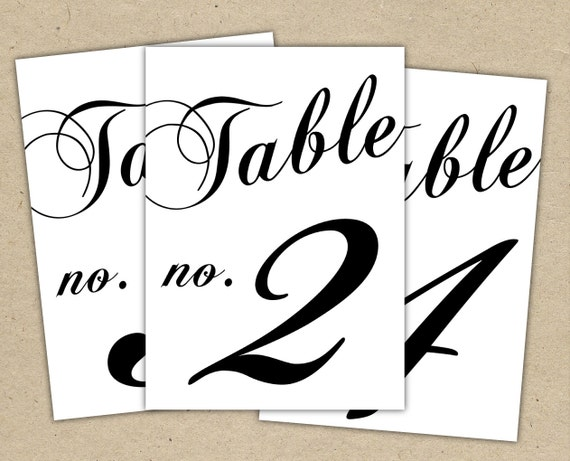 Black Table Numbers Printable Template Instant Download