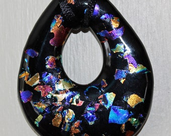 Stained Glass Abstract Black and Dichroic Fused Pendant