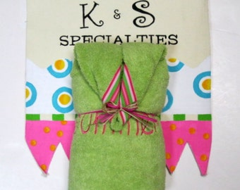 Monogrammed Personalized Hooded Towel With Ribbon-Lime Green With Hot Pink