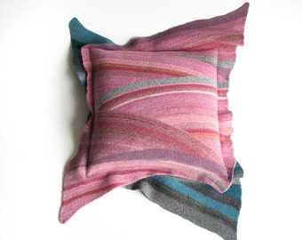 Diagonal Striped Cushion Cover - Natural Woolen Felted Throw Pillow Case 18x18 - Home Decor - Greyish Turquoise and  Pink Palette