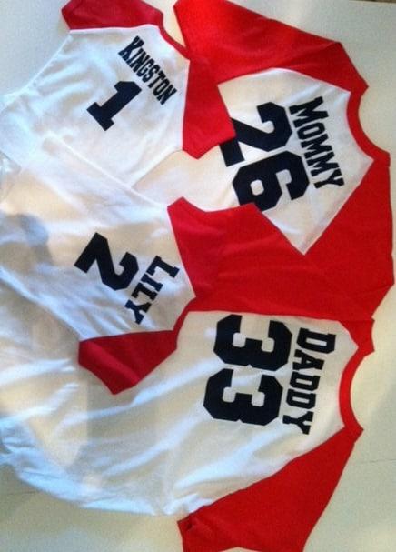 Baseball shirts for family three shirts by embroiderymania for Custom sports team shirts