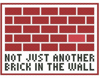 "Pink Floyd Inspired ""Not Just Another Brick in the Wall"" Cross Stitch Chart"