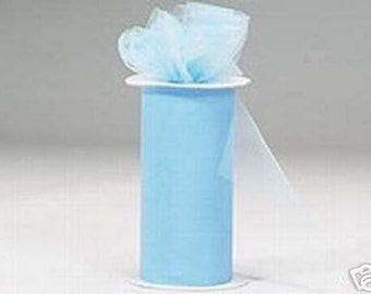 6 inch x 300 ft Nylon Tulle Roll -- LIGHT BLUE