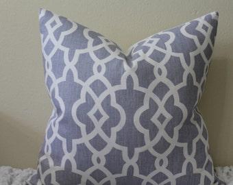 "Schumacher Summer Palace Fret in Wisteria (A Light Violet Blue) - 20"" x 20"" Decorative Designer Pillow Covers"