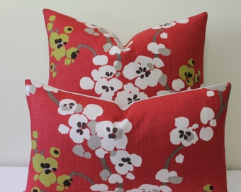 "Romo Serephine - Soft Red- From the Rubani Collection - 18"" - 22"" Square and Lumbar Sizes - Decorative Designer Pillow Cover"