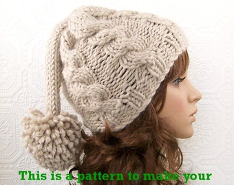 Instant download knitting hat pattern adult slouch hat pdf