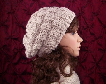 Hand knit hat - rippled beehive hat - your color choice or linen - Winter Fashion accessories Sandy Coastal Designs