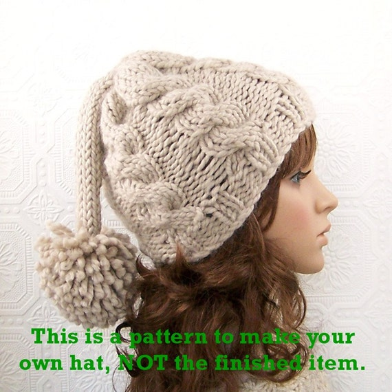 Knitting Pattern For Hat With Long Tail : Instant download knitting pattern - adult hat, beanie - knit long tail pompom...