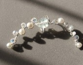 Swarovski Crystals Ear Cuff,  Silver Wire Wrapped Ear Vine, Genuine White Pearls, Brides Ear Art