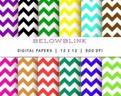 Zig Zag Chevron Digital Paper Pack, Scrapbook Papers, Background Papers, 12 jpg files 12 x 12 - Instant Download - DP112
