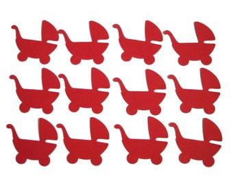 50 Red Baby Carriage punch die cut scrapbook embellishments - No717