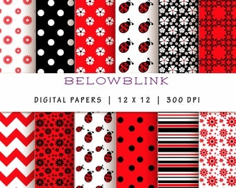 Ladybug Digital Paper Pack, Scrapbook Papers, 12 jpg files 12 x 12 - Instant Download - DP127