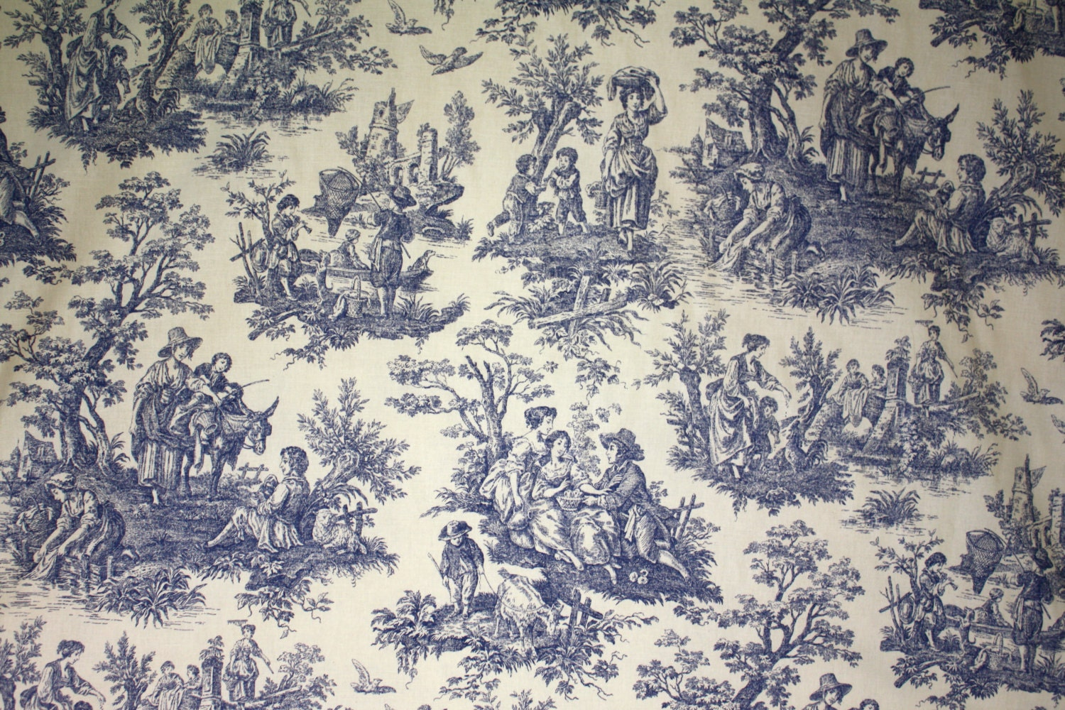 Designer Fabric Waverly Country Life Blue Toile