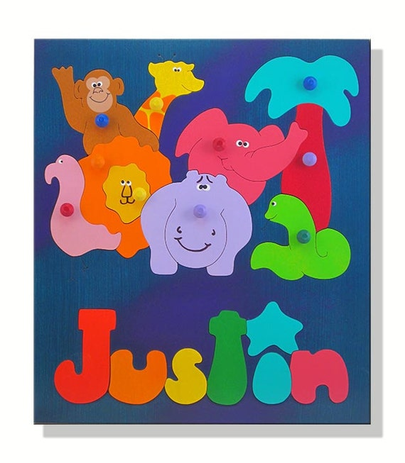 Personalized Wooden Name Puzzle African Zoo Animals