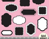 buy2get1 digital frames labels for scrapbooking - 12 fancy shapes