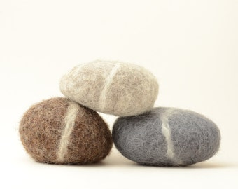 Felted Stones - grey brown natural home decor rocks nature eco friendly