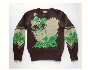 1940's RARE Picture Sweater of St. George and the Dragon Wool Sweater by Bud BERMA