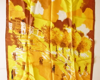1950's Picture Scarf in European style-watercolor-yellow-Made in Japan
