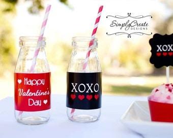 Valentine's Day Water Bottle Labels Glass Bottle Label 8.5x11 JPEG DIGITAL file