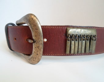 Vintage Brown  NAVA Belt NYC Brass Buckle and Dangles Size Small