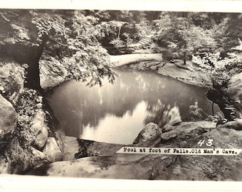 Pool at Foot of Falls - Old Man's Cave OH - RPPC - Vintage Postcards