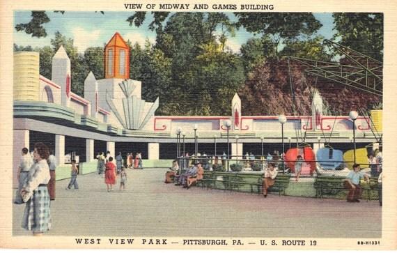 Vintage Images Amusement Park Midway West View Park