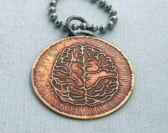 Brainz - Etched Brain pendant - Zombies - Halloween - Walking Dead