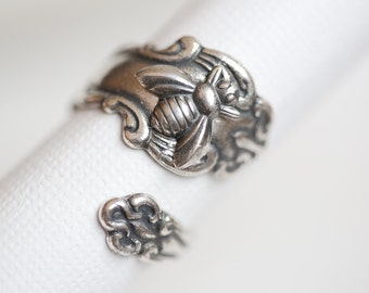 Antique Spoon Ring, Silver Bee Ring, jewelry gift,Silver Spoon Ring,Antique Ring,Silver Ring,Wrapped,Adjustable,Bridesmaid.