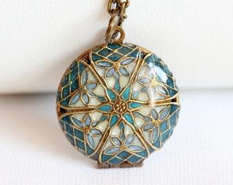 Locket Necklace,Brass Locket,Jewelry Gift,Blue locket,filigree locket necklace,photo locket -  Wedding Locket,Something Blue