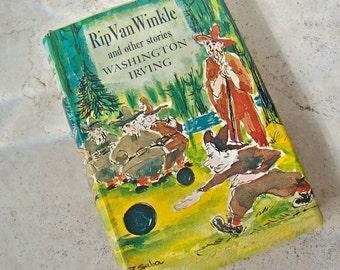 Vintage Rip Van Winkle Hardcover Book Washington Irving Catskill Mountains Ichabod Crane American Folklore Sleepy Hollow 1950s